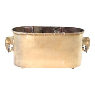 1970s Chippendale Brass Elephant Wine Cooler & Cachepot For Sale