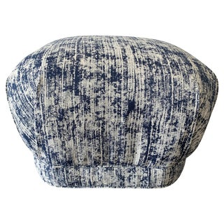 1970s Karl Springer Style Soufflé Pouf in Blue and White Scalamandre Fabric For Sale