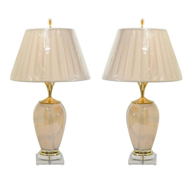 Sophisticated Pair of Custom-Made Murano Lamps with Silk Box Pleat Shades For Sale - Image 10 of 10