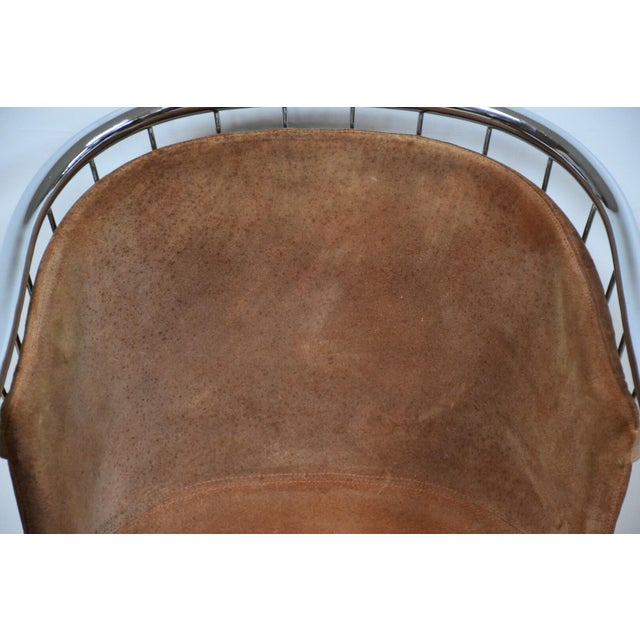Mid-Century Chrome and Suede Chair - Image 8 of 9