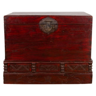 Chinese Antique Red Lacquered Trunk With Incised and Carved Motifs and Handles For Sale