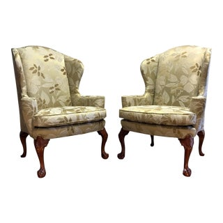 Stickley Brooklyn Heights Chippendale Wing Chairs With Ball in Claw Feet - Pair For Sale