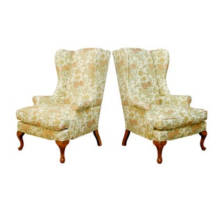 George II Style Brocade Wingback Chairs - A Pair For Sale