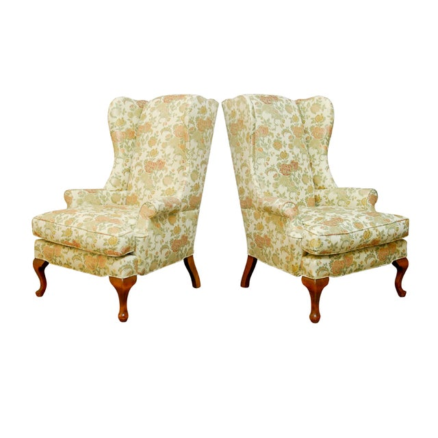 George II Style Brocade Wingback Chairs - A Pair - Image 1 of 9