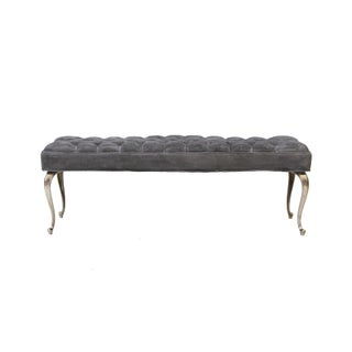 Hollywood Regency Tufted Bench With Cabriole Legs Preview