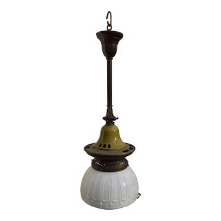 Vintage Industrial Gas Fixture With Shade For Sale