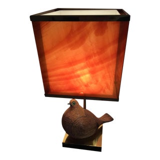 Italian Modernist Ceramic Partridge With Tortoise Shell Lucite Shade