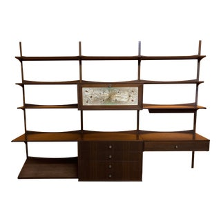 1960s Mid Century 3-Bay Modular Wall Storage Unit With Bar For Sale