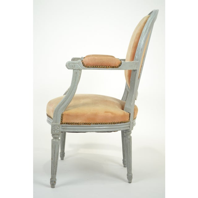 Louis XVI Gray-Blue Frame Armchairs - A Pair - Image 4 of 10