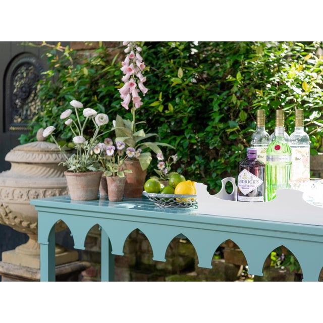 Oomph Ocean Drive Outdoor Console Table, Blue For Sale In Charlotte - Image 6 of 7