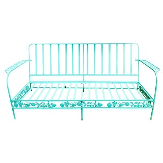 1940s Vintage Vibrantly Colored Cast Iron Sofa For Sale