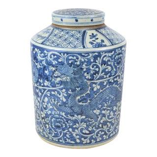 Vintage Porcelain Blue and White Dragon Tea Jar For Sale