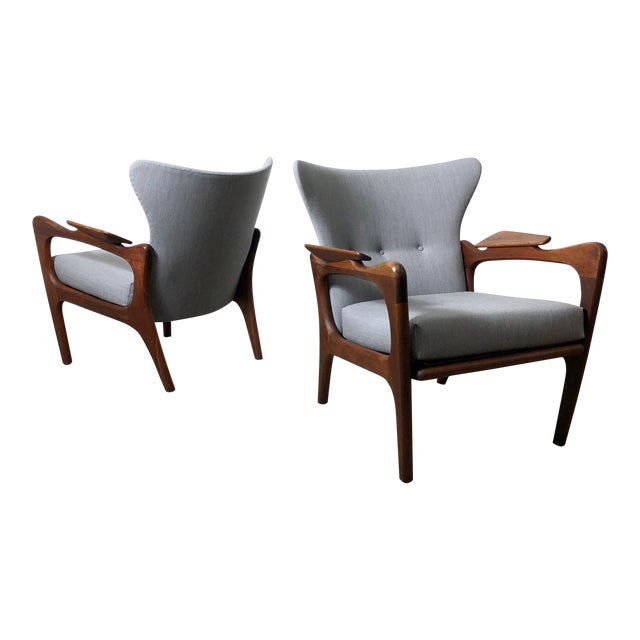 1960s Pair Adrian Pearsall for Craft Associates Wingback Lounge Chairs For Sale