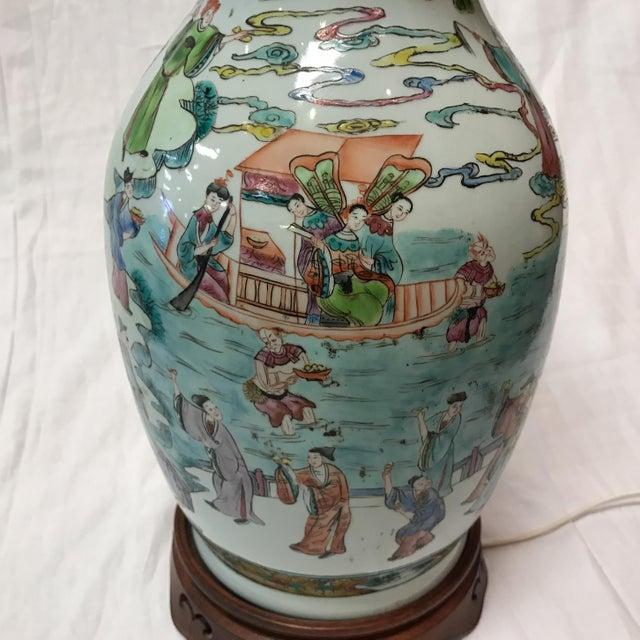 Antique Japanese Porcelain & Wood Lamp - Image 4 of 11