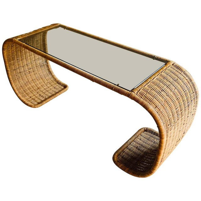 Vintage Rattan Scroll Console Table For Sale - Image 10 of 10
