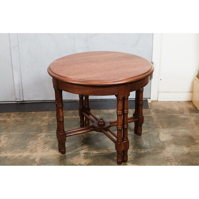 1940s Pair Mid-Century Faux Bamboo Side Tables For Sale - Image 5 of 6