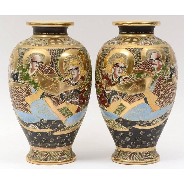 20th Century Satsuma Japanese Porcelain Vases - a Pair For Sale - Image 9 of 11