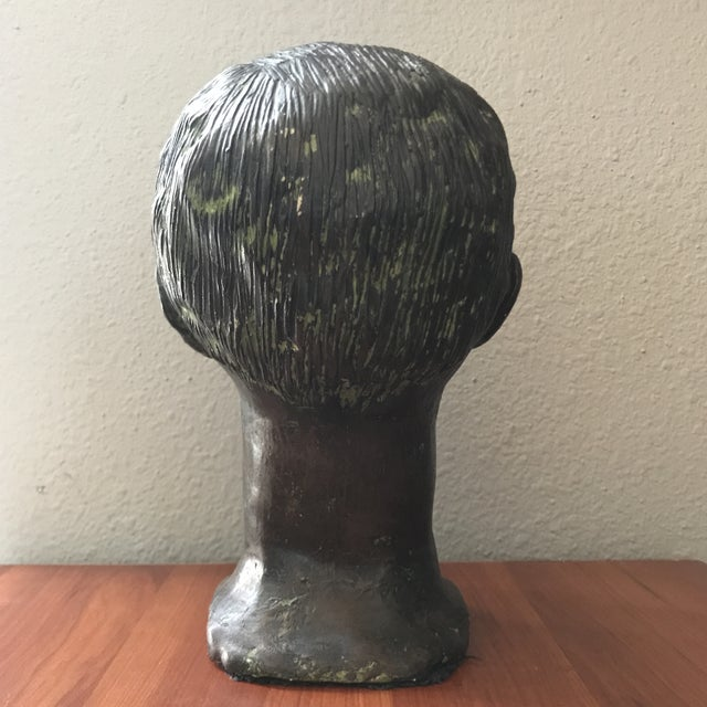 Boho Chic Vintage Handcrafted Pottery Male Bust For Sale - Image 3 of 7