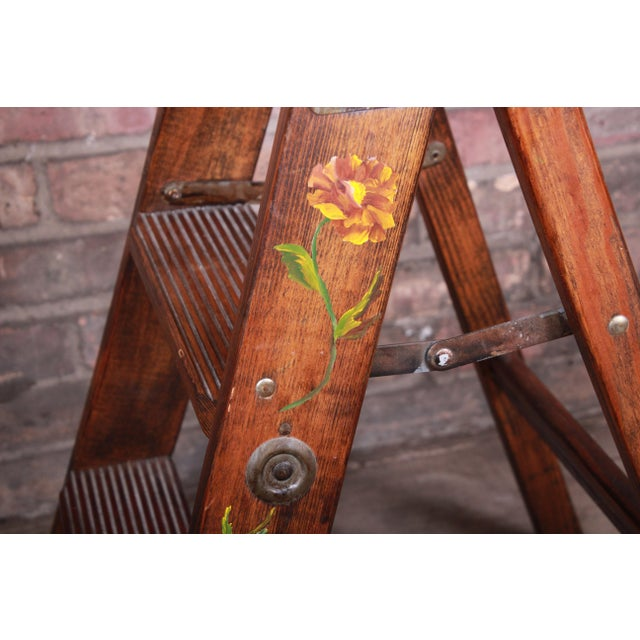 Wood Vintage Hand-Painted Wooden Step Ladder For Sale - Image 7 of 10