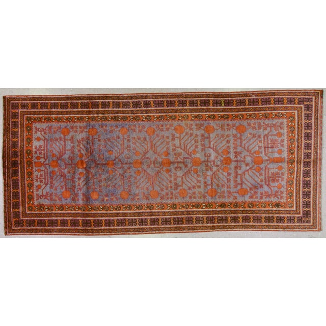 "Late 20th Century 20th Century Boho Chic Orange and Purple Khotan Wool Rug - 4'3""x9'7"" For Sale - Image 5 of 5"
