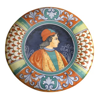 Italian Hand Painted Portrait Plate For Sale