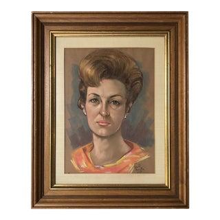 1960s Female Chalk Portrait For Sale