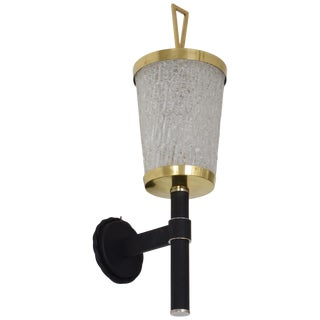 French Mid-Century Glass Sconce by DLG Arlus, 1950s For Sale