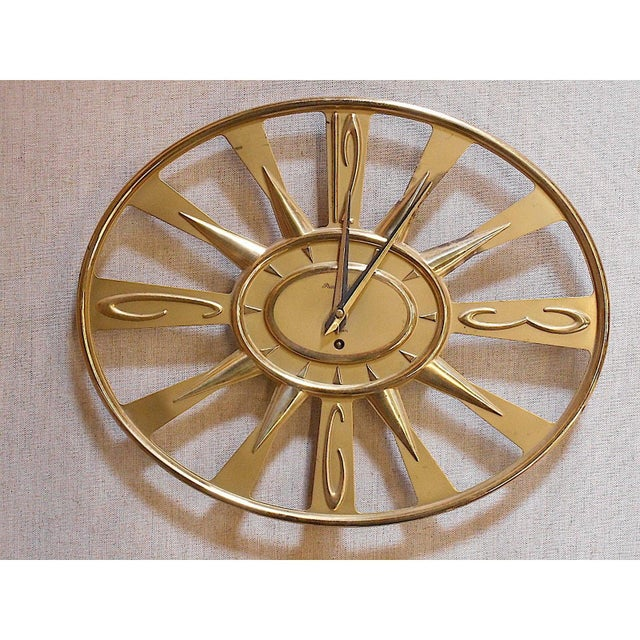 Vintage Mid 20th C. Modern Brass Wall Clock With Key-Phinney Walker Eight Day Clock For Sale - Image 4 of 6
