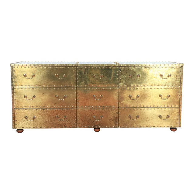 Vintage Brass Cabinet Styled After Sarreid Ltd For Sale