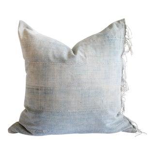 Custom Made Faded Indigo Tribal Lumbar Pillows With Original Fringe For Sale