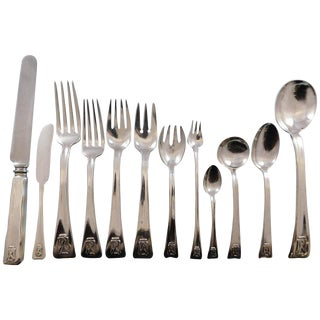 Lap Over Edge by Tiffany and Co Sterling Silver Flatware Set 8 Service 112 Pieces For Sale