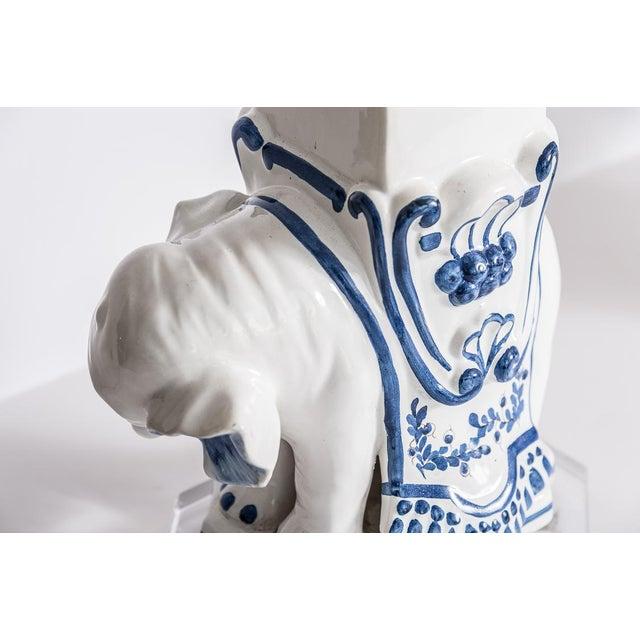 Blue Italian Glazed Terra Cotta Blue & White Elephant Obelisks, A-Pair For Sale - Image 8 of 12
