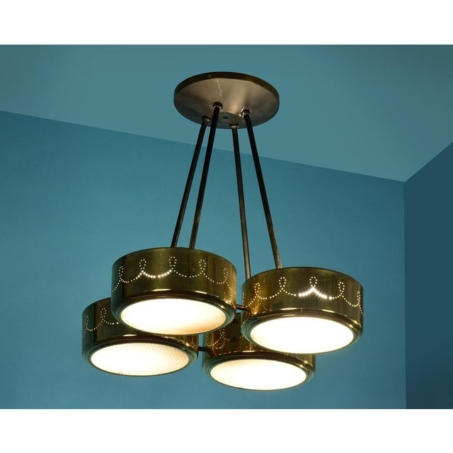 1960s Gerald Thurston for Lightolier Four Shade Chandelier, Circa 1950's For Sale - Image 5 of 9