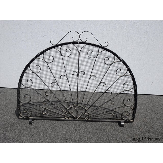 Vintage Spanish Style Black Metal Fireplace Screen W Scrolls For Sale - Image 13 of 13