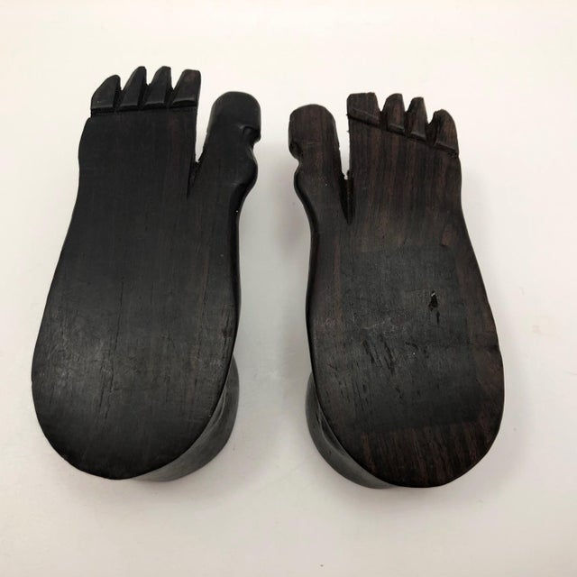 Vintage Hand-Carved Ebony Foot-Shaped Candleholders - a Pair For Sale - Image 11 of 12