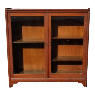 Antique American Oak Wood Display Cabinet Bookcase For Sale