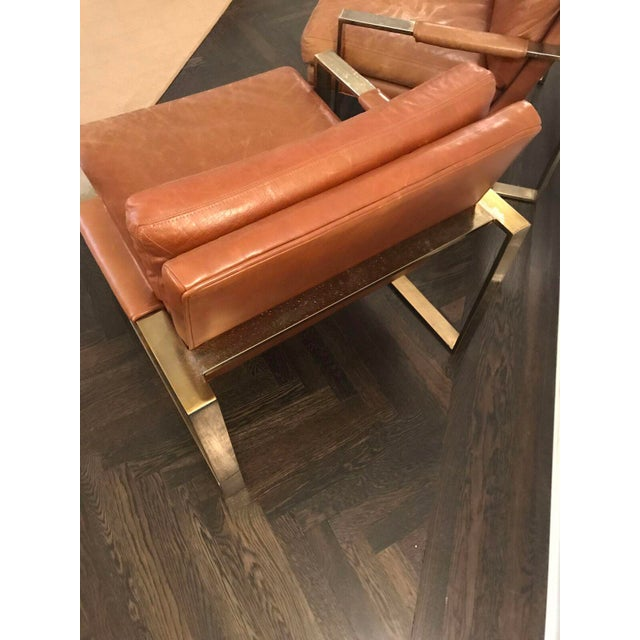 Milo Baugman by Thayer Coggin Brown Leather Chairs - a Pair - Image 4 of 6