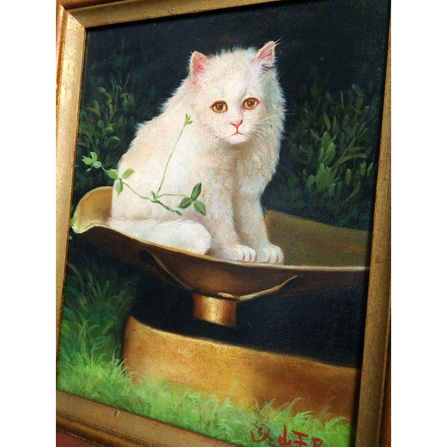 Traditional Late 19th Century Antique George De Forest Brush Cat Oil on Canvas Painting For Sale - Image 3 of 9