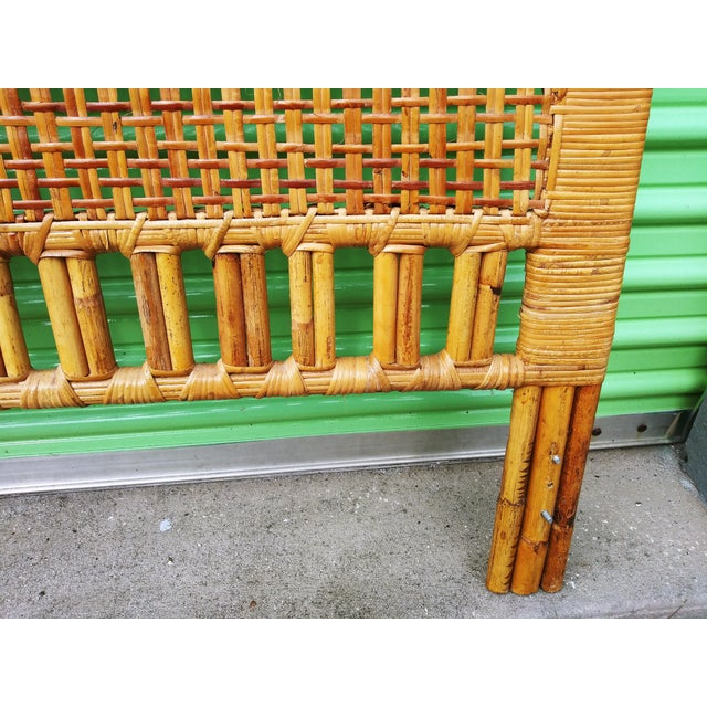 Boho Chic Handwoven Bamboo & Rattan Cane Twin Headboards - a Pair For Sale - Image 9 of 13