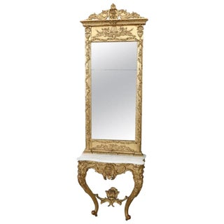 19th Century Italian Carved and Gilded Wood Luxury Console Table With Mirror For Sale