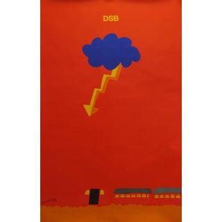 1975 Original Danish Railway Poster, Thunder and Lightning For Sale