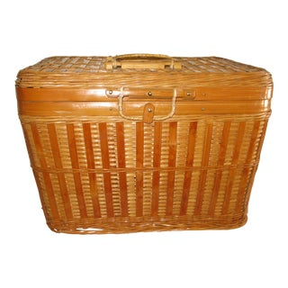 Vintage Wood Basket With Handles and Closure For Sale