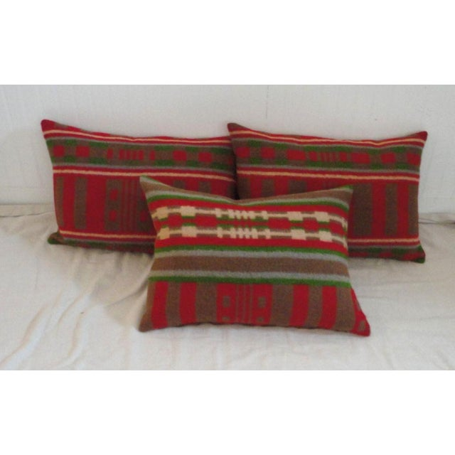 19th century wool horse blanket pillows. Sold individually. The blanket is from Pennsylvania.