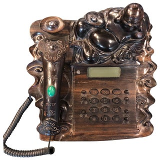 Chinese Buddha Carved Mahogany Telephone For Sale