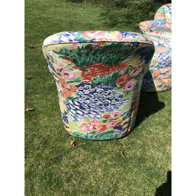 1990s Vintage Inspired Swivel Lounge Chairs & Ottoman For Sale - Image 4 of 7