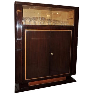 French Art Deco Display Cabinet in Macassar by Jules Leleu For Sale