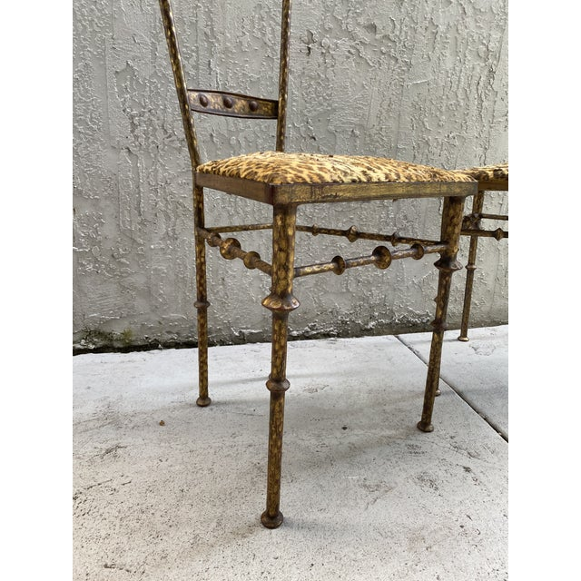 Diego Giacometti Gold Cheetah Print Giacometti Style Chairs - a Pair For Sale - Image 4 of 11