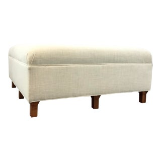 Suzanne Kasler for Hickory Chair Modern White Linen Inman Ottoman For Sale