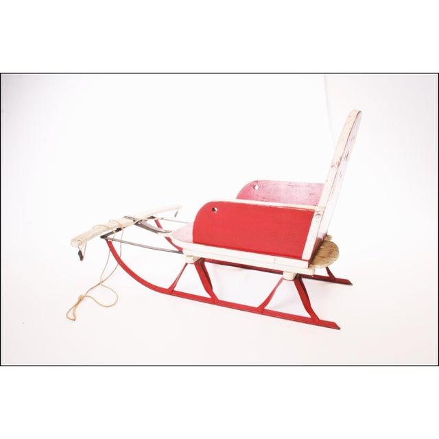 Vintage Red Wood & Metal Childs Runner Sled - Image 3 of 11