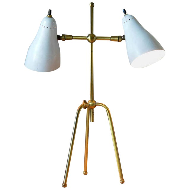 Vintage White and Brass Italian Two-Arm Table Lamp, Circa 1960 For Sale